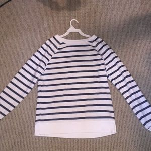 White and navy stripped long sleeve shirt